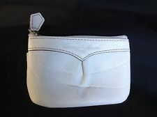 1975 Vtg Dooney & Bourke Pebbled White Leather Zipper Coin Purse W/ Side Pocket