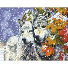 "EARLY SNOWFALL Wolf Wolves  Paint by Number Kit 11"" x 14"""