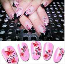Nail Art Water Decals Transfer Stickers Pretty Pink Floral Pattern Tips XF128