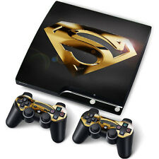 PS3 PlayStation 3 Slim Skin Stickers for Console + 2 Controllers/ Pads GoldSuper