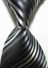 New Classic Striped Black Gray White JACQUARD WOVEN Silk Men's Tie Necktie