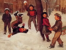 Oil painting john george brown - winter games happy children playing landscape