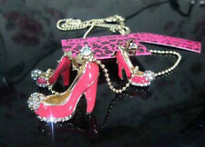 Betsey Johnson fashion red high-heeled shoes necklace + earrings