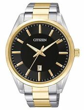 Citizen BI1034-52E Men's 2 Tone Stainless Steel Black Dial Japanese Quartz Watch