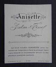 Ancienne étiquette ANISETTE EXTRA FINEE anis Pernod Ricard Pastis french label