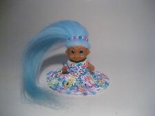 "RUSS BABY TROLL DOLL 2"" NEW TEAL BLUE SPARKLE EYES NEW MOHAIR & CLOTHES VTG"