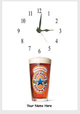 Newcastle Brown clock with picture  of pint . Name added free