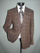 Outstanding Etro Milano Two Buttons Brown Plaid Men Jacket 40 R