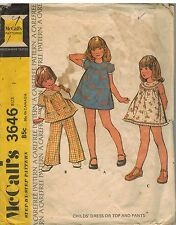 3646 Vintage McCalls Sewing Pattern Girls Dress Top Pants Carefree Summer OOP