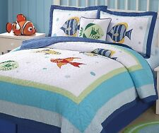 COLORFUL SEA Full / Queen QUILT SET : TROPICAL FISH BLUE OCEAN BEACH COMFORTER