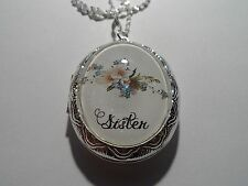 """STERLING SILVER PLATED VICTORIAN FLORAL SPRAY SISTER OVAL LOCKET NECKLACE 26"""""""