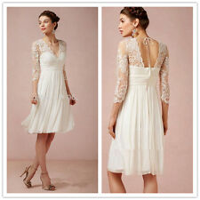 Simple Lace Short Bridal Gown White Ivory Vintage Beach Wedding Dress 4 6 8 10++