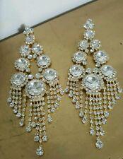 Clip on chandelier silver gold rhinestone earrings drag queen beauty pageant