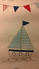 Blue Maritime Material For Patchwork Pictures 1 Boat 15.5cm x 11.5cm