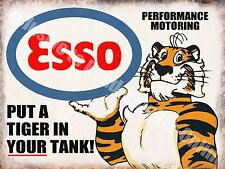 Vintage Garage, Esso Petrol Tiger Motor Oil Old 40 Advert, Medium Metal/Tin Sign