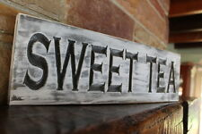Fixer upper decor farmhouse kitchen sign SWEET TEA rustic wood signs carved