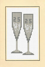 "25th Silver Glasses Wedding Anniversary - Cross Stitch Card Kit 4""x6"" 14 Count"