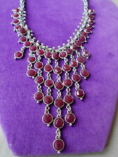 Lucky Brand Authentic NWT Silver-Tone Red Stone Bib Necklace