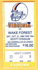 10/21/89 VIRGINIA VS. WAKE FOREST FOOTBALL TICKET STUB