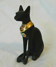 "1 Egyptian Bastet Cat Goddess Resin Stone Statue Black Gold Scarab 5.75"" #152"