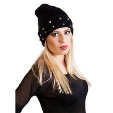 Girls,Womens,ladies & mens slouch beanie hat with studs  black grey brown purple