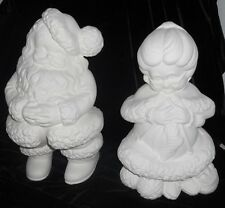 C-0270 Ceramic Bisque Ready to Paint Large Winking Mr. & Mrs. Santa Claus
