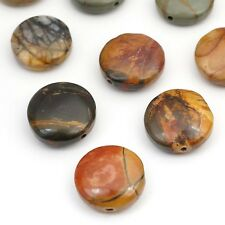 10 red creek jasper flat round beads red brown grey semiprecious stone 15mm