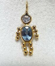 """Cute Little Boy Charm in 14k w/Blue and Clear  """"Ice"""" Details"""