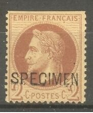 "FRANCE STAMP TIMBRE SPECIMEN N° 10 ""NAPOLEON III 2c ROUGE-BRUN"" NEUF x A VOIR"