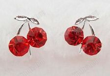 COMFY U CLIP ON studs RED CRYSTAL CHERRY stud EARRINGS silver pl RHINESTONE