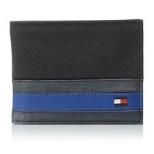 NEW TOMMY HILFIGER MENS BLACK LEATHER BIFOLD PASSCASE BILLFOLD WALLET 31TL22X050