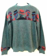 "Mens BIZZARRO Fuzzy Wool MEN WEARING FEDORAS Unique MOHAIR Sweater 54"" Chest"