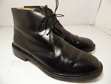 J Crew Ankle Boots Chukka Black Leather Shoes Mens Size 8.5 Made in Italy
