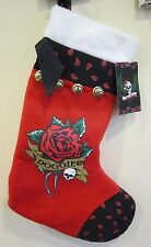 "Pets Rock Paisley Red Jingle Bell Xmas DOGGIE Scull 17"" Xmas Plush Stocking New"