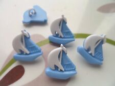 24pcs Novelty Novelty Button Boat Sailing Ocean Cardmaking Craft White Blue