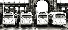 1960s Toronto Transit buses decorated for Christmas season 8 x 19 Photograph