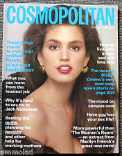 Ultra Rare Vintage UK Cosmopolitan Magazine from October 1987 Cindy Crawford