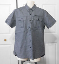 ROCK & REPUBLIC Mens Black Mini Checked 3 Pocket Slim Fit Button Shirt Size M