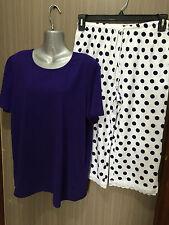 BNWT Ladies Sz 18/20 Pretty Purple/White Polka Dots Stretch Short Summer Pyjamas