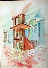 Acquerello '900 su carta Watercolor Architettura futurista cubista razionale-100