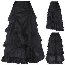 Women Gothic Victorian Steampunk Ruffle Full Layer Bustle Vintage Long Skirt BLK