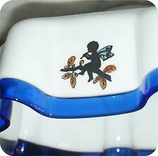 Rare antique vintage milk glass lamp shade blue crest  silhouette cupids ladies