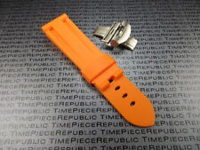 26mm Orange Rubber Diver Strap Deployment Buckle Watch Band PAM XB