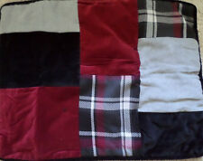 Cremieux MCKENZIE KING Shams (2) Quilted  Black, Red Light Grey Plaid NEW 1Q