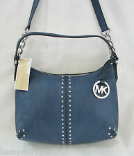 MICHAEL KORS ASTOR NAVY BLUE LEATHER+SILVER CHAIN CROSSBODY,SHOULDER,HAND BAG