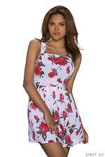 Sexy Minikleid Träger Kleid Dress mit Blumen Print Anthrazit Weiß  34 / 36 / 38