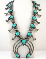 Old Pawn Navajo Handmade Sterling Silver Turquoise Squash Blossom Necklace J OX