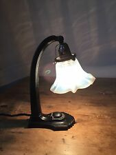 Converted to Electric -Victorian Gas Table Lamp Vaseline Glass Lampshade