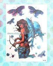 "US Seller-butterfly fairy large 8.25"" half-sleeve arm temporary tatoo"