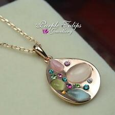 18CT Rose Gold GP Bohemian Style Pendant Necklace Opal & Gen Swaroski Crystal